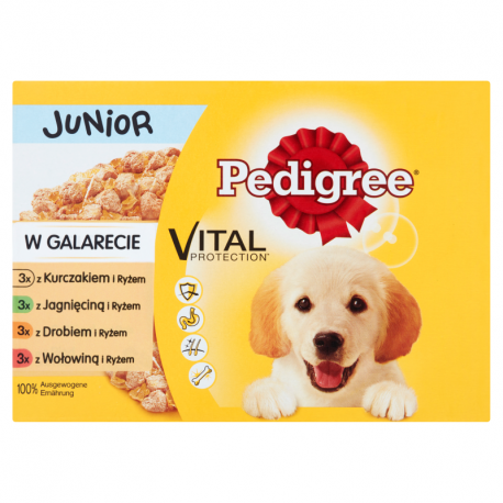 Pedigree Vital Protection Junior w galarecie Karma pełnoporcjowa 1,2 kg (12 x 100 g)