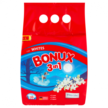 Bonux 3in1 White Lilac Proszek do prania 1,5 kg (20 prań)