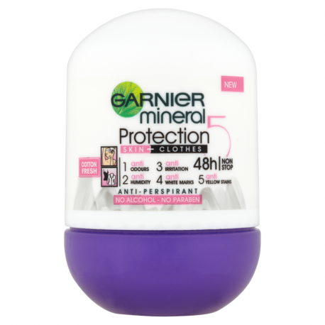 Garnier Mineral Protection 5 Cotton Fresh Antyperspirant w kulce bez alkoholu 50 ml
